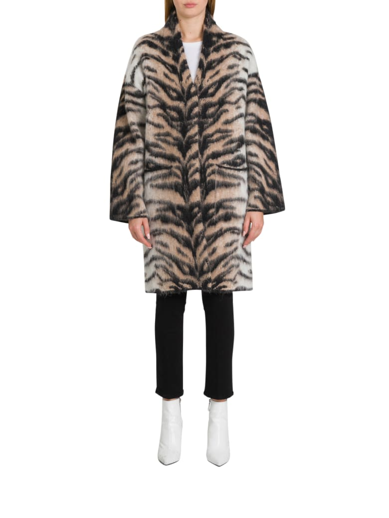 Laneus Longline Cardigan In Tiger Pattern Alpaca - Beige