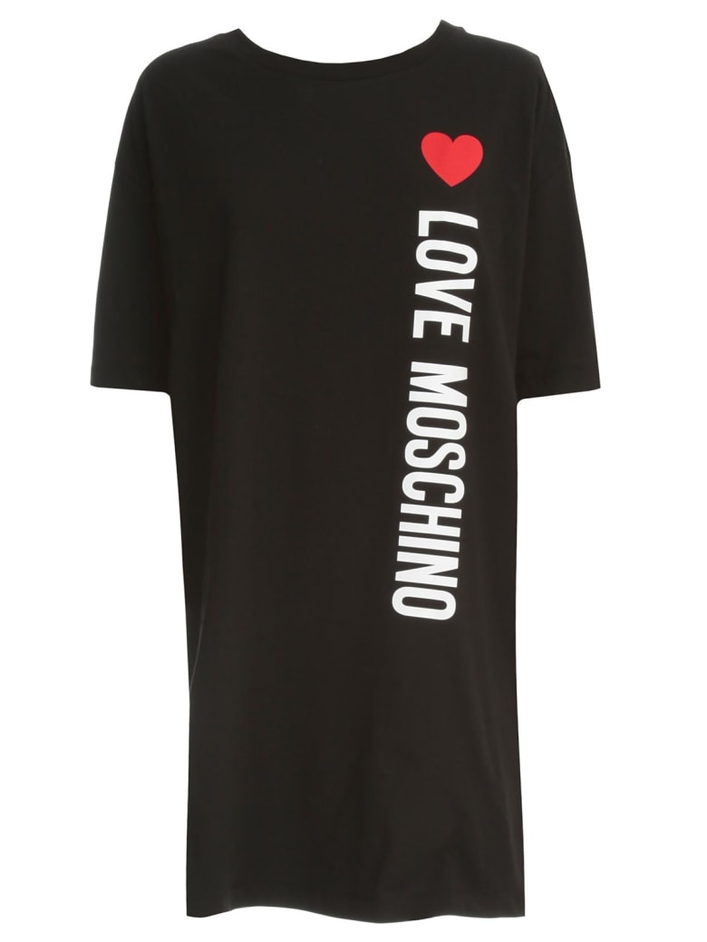 Love Moschino Dress S/s Cotton W/written - Black