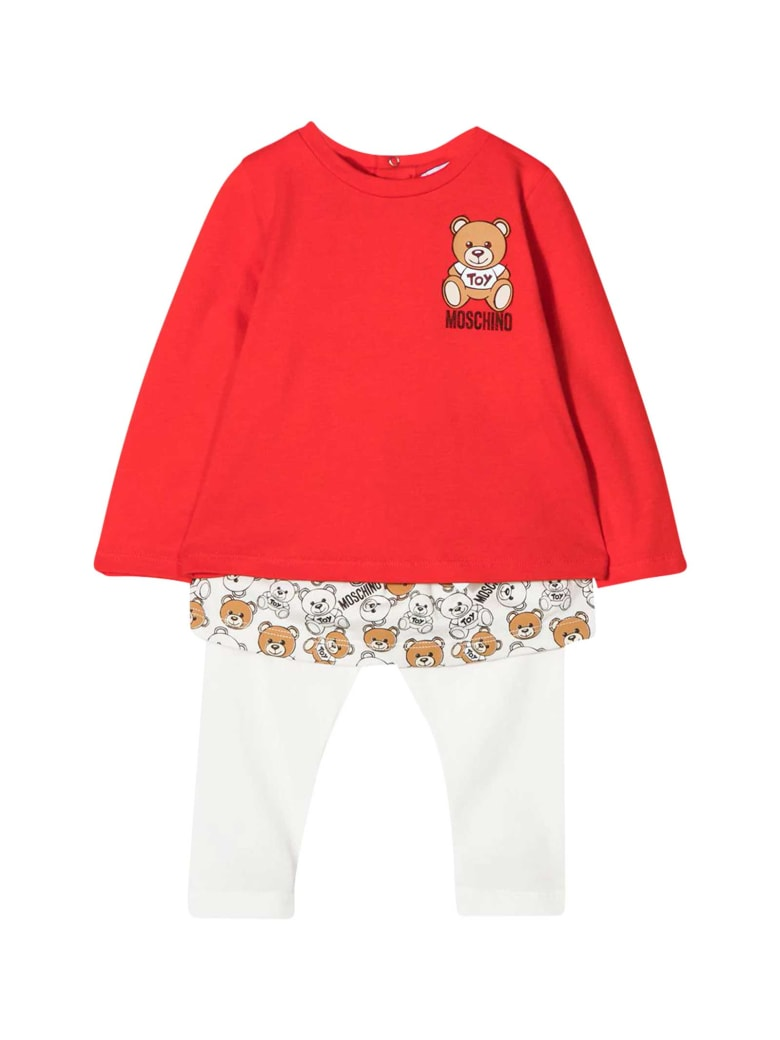 Moschino Two Pieces Set With Red Top - Bianco