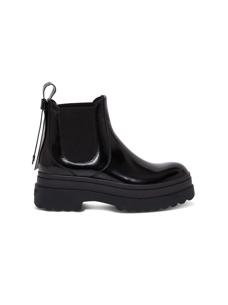 RED Valentino Chunky Boots In Black Leather - Black