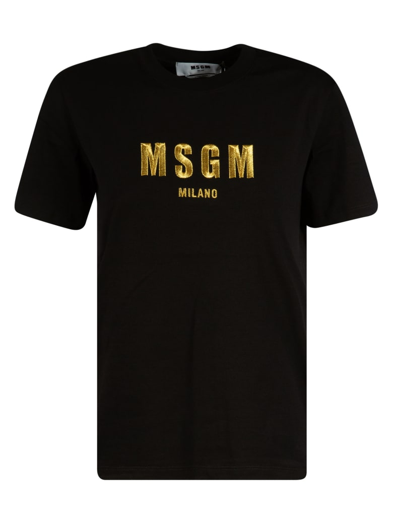 MSGM Embroidered Logo T-shirt - Black/Gold