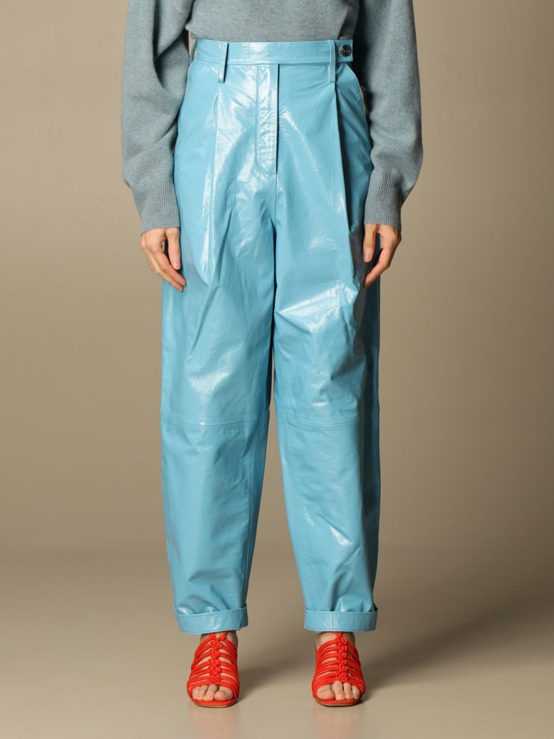 REMAIN Birger Christensen Remain Pants Remain Trousers In Genuine Shiny Leather - Gnawed Blue