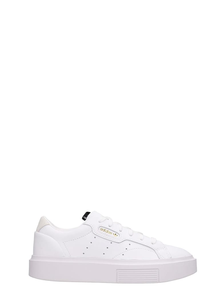 Adidas Sleek Sup Sneakers In White Leather - white