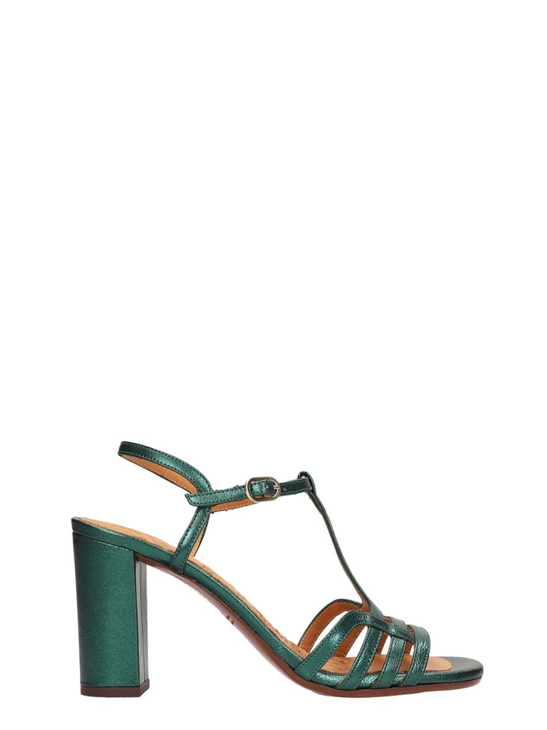 Chie Mihara Green Metallic Leather Bely Sandals - green