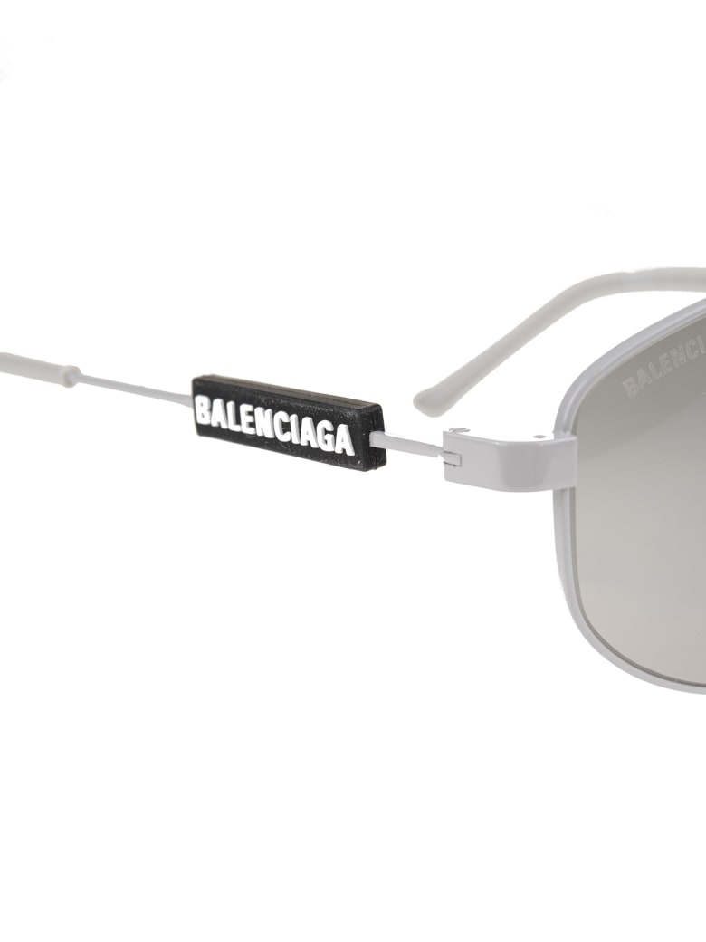 Balenciaga Silver Woman Tag Pilot Sunglasses - Light grey