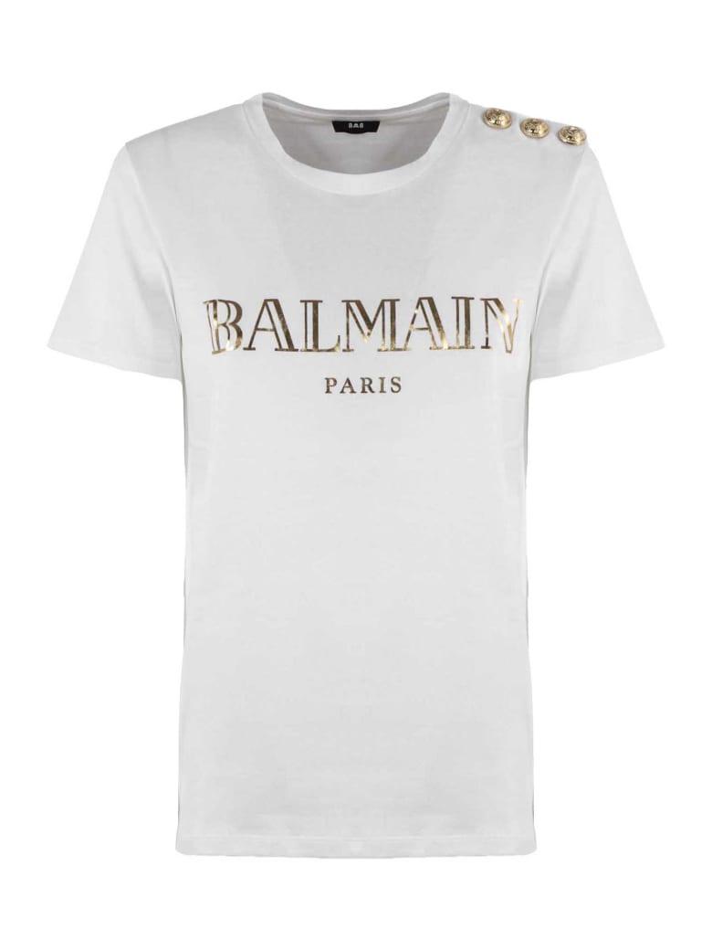 Balmain White And Gold Cotton T-shirt - Bianco+oro