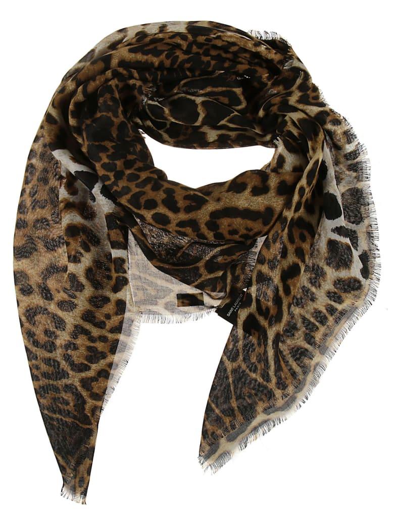 Saint Laurent Leopard Printed Scarf - Beige/Black