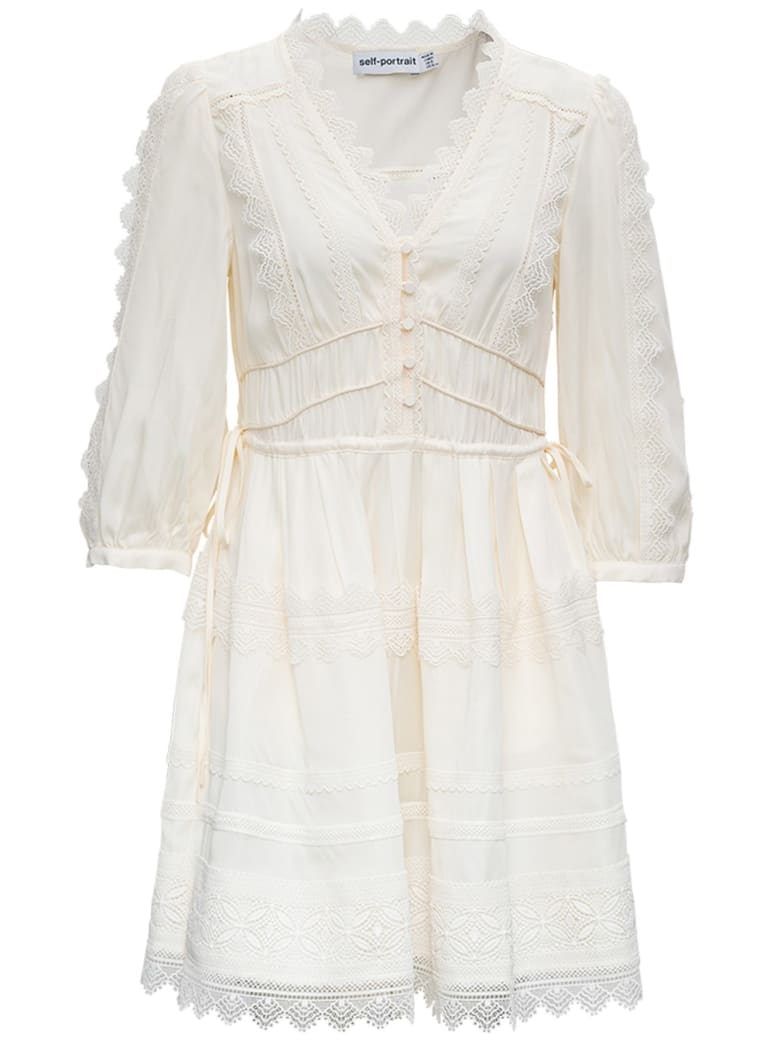 self-portrait Viscose Twill Dress With Lace Inserts - White