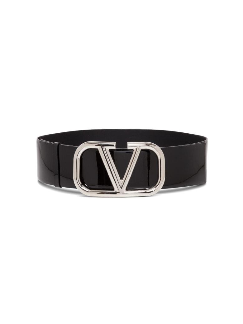 Valentino Garavani V Logo Patent Leather Belt - Black
