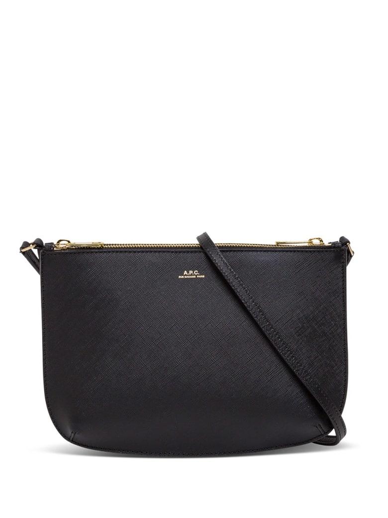 A.P.C. Sac Demi Lune Leather Crossbody Bag - Black
