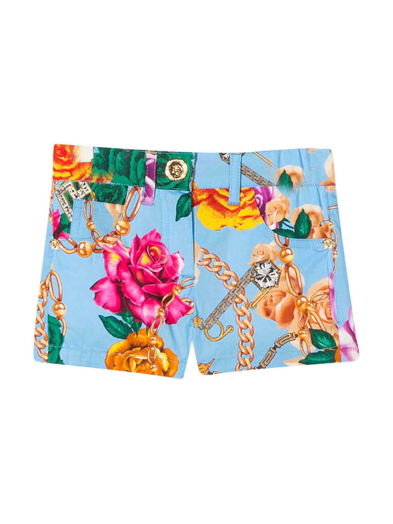 Young Versace Blue Denim Shorts With Floreal Press - Stampa
