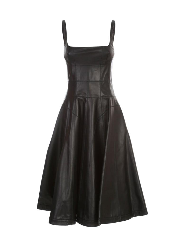 Giovanni Bedin Leather Sleeveless Godet Mini Dress - Black