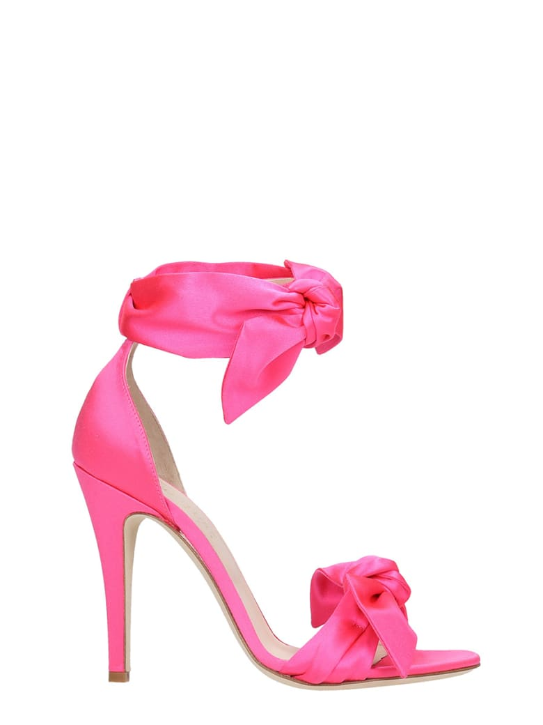 GIA COUTURE Sandals In Fuxia Satin - fuxia