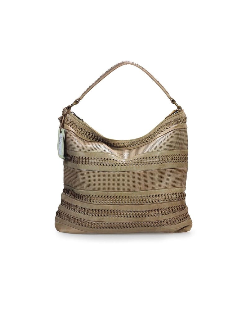 Rehard Weave Beige Leather Shopping Bag - Beige (Beige)