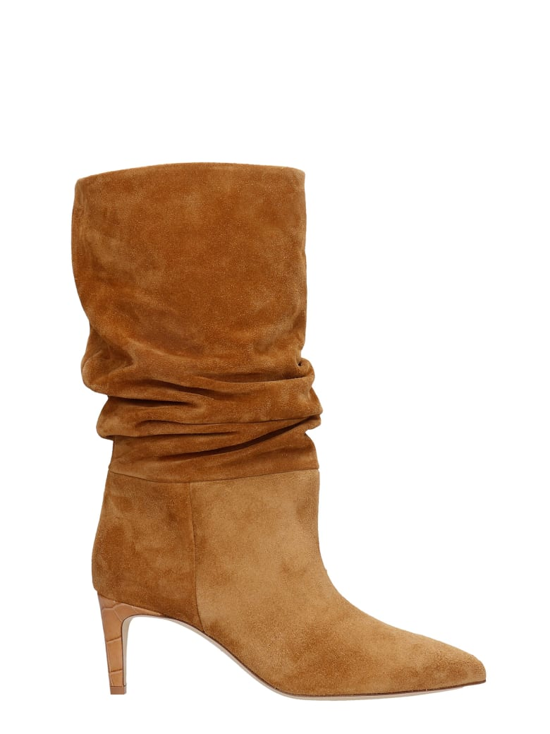 Paris Texas High Heels Ankle Boots In Leather Color Suede - leather color