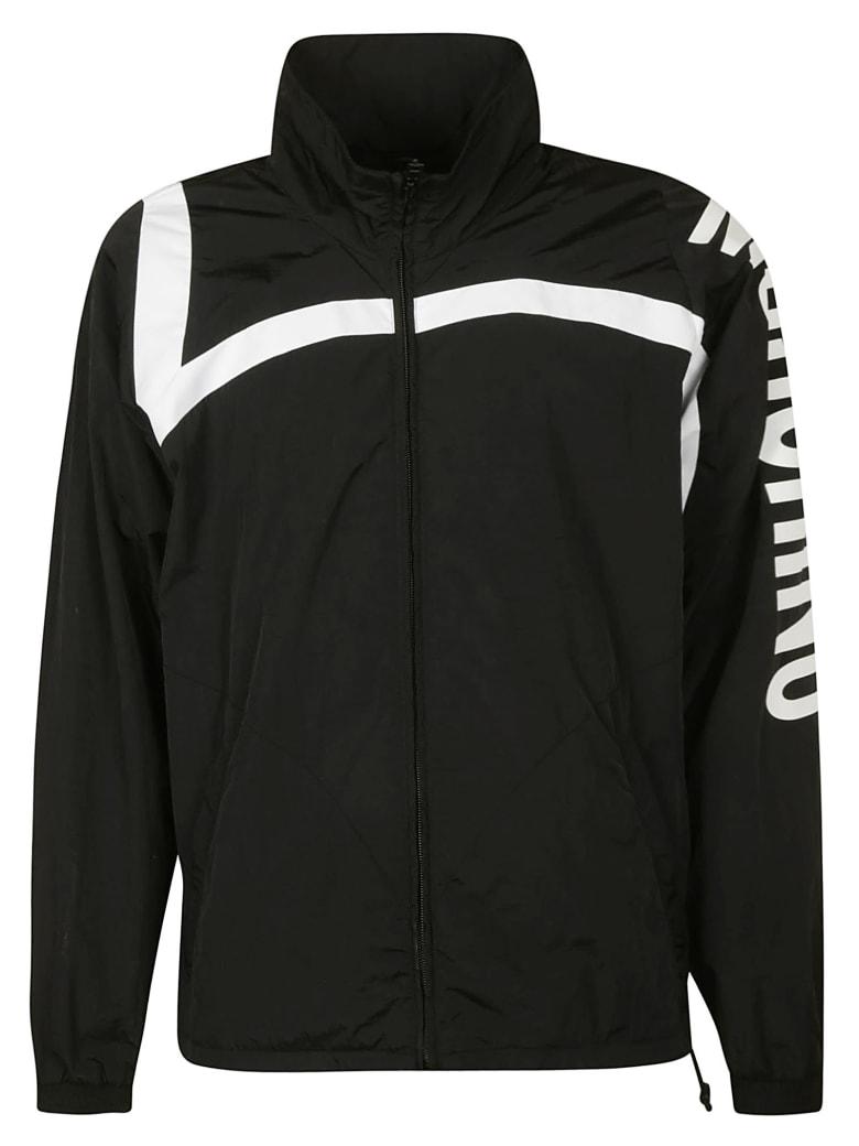 Moschino Sleeve Logo Print Zipped Jacket - black