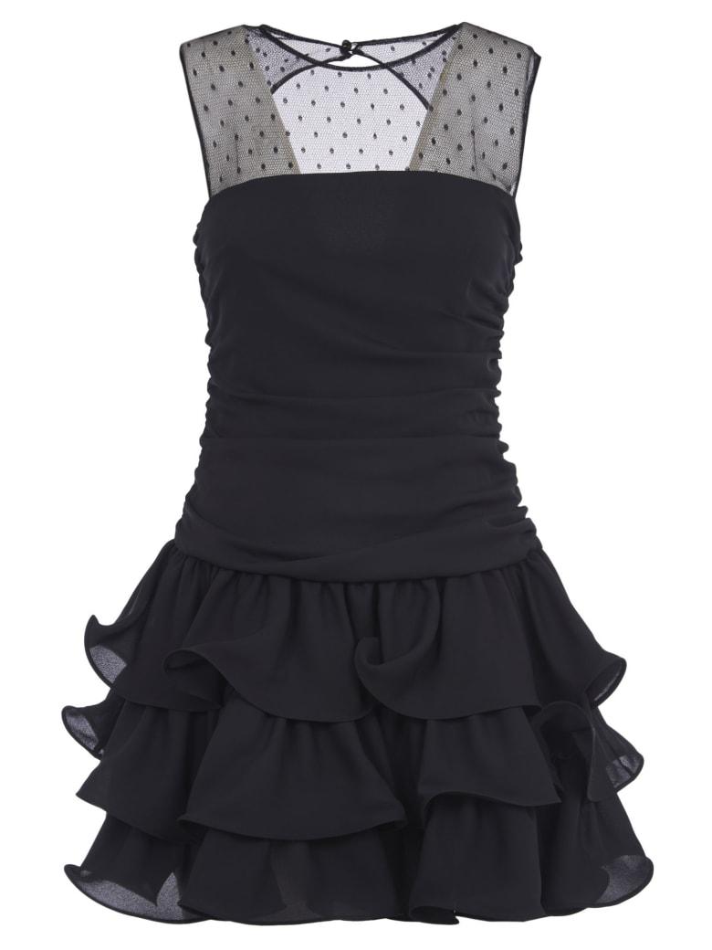 RED Valentino Layered Hem Sleeveless Lace Dress - Black