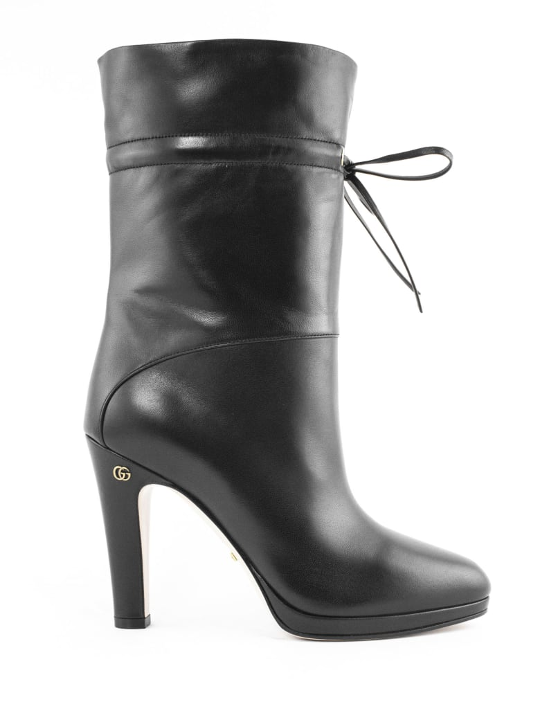 Gucci Black Leather Ankle Boot - Nero
