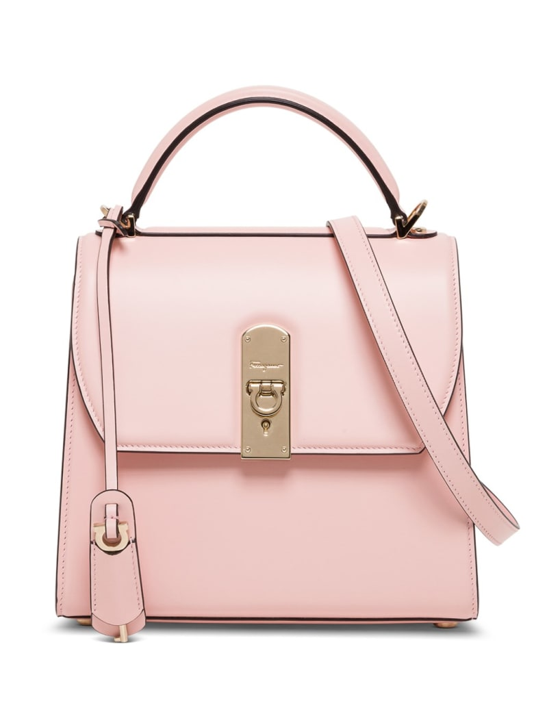 Salvatore Ferragamo Boxyz Handbag In Pink Leather - Pink