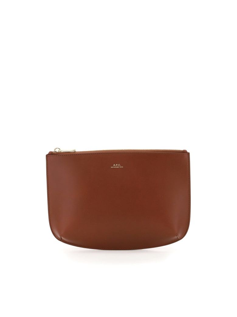 A.P.C. Sarah Leatherclutch - BROWN