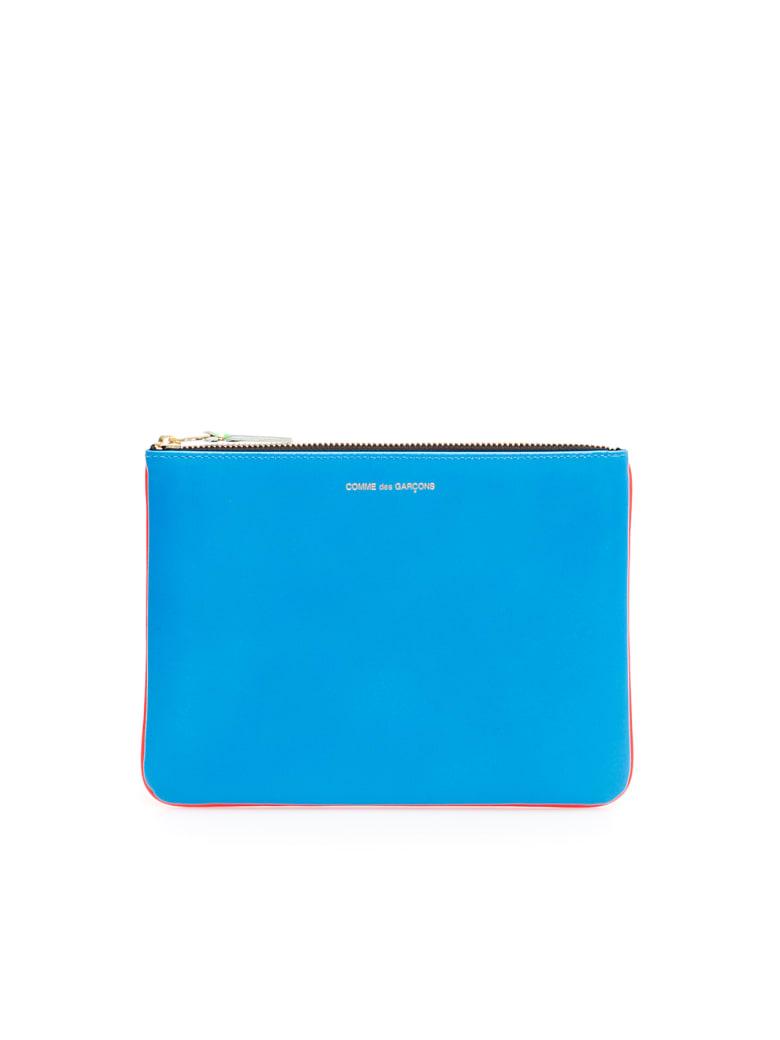 Comme des Garçons Wallet Unisex Super Fluo Pouch - ORANGE BLUE (Blue)