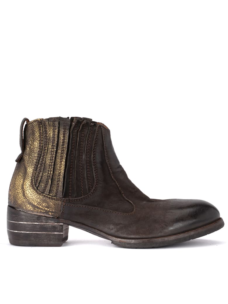Moma Bandolero Dark Brown And Gold Texan Boots - MARRONE
