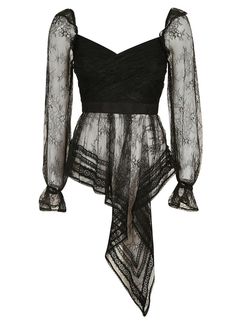 self-portrait Fine Lace Wrap Top - Black