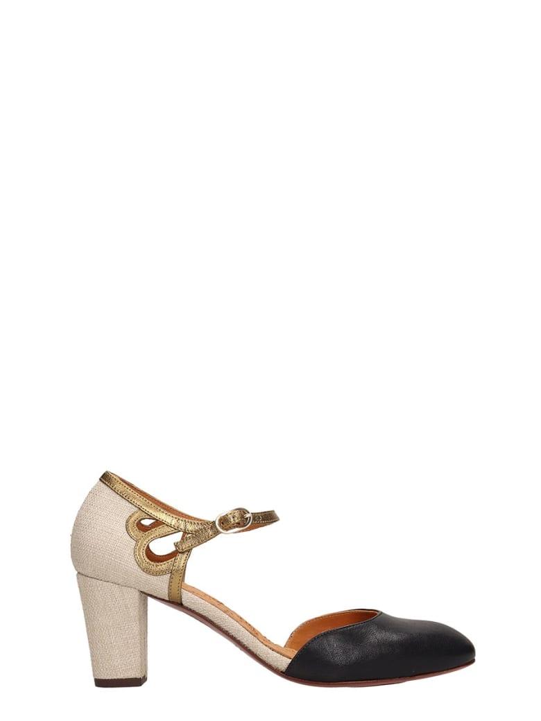 Chie Mihara Black Beige Leather Taitai Sandals - black
