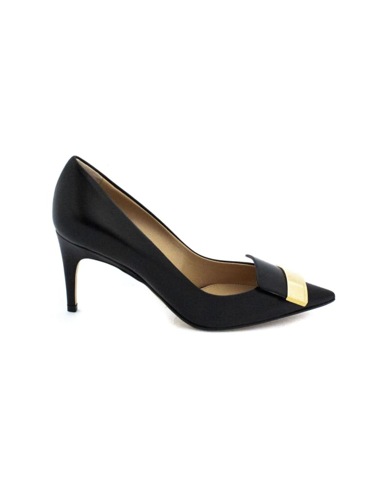 Sergio Rossi Black Leather Pointed-toe Decollete'. - Nero