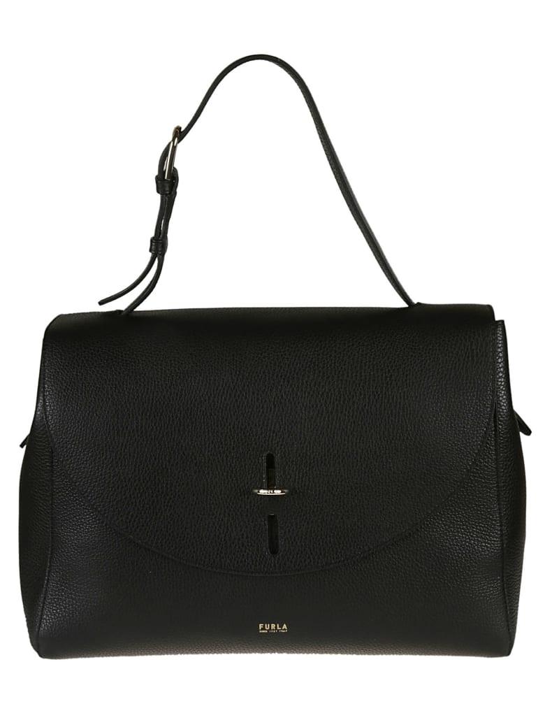 Furla Leather Flap Shoulder Bag - black