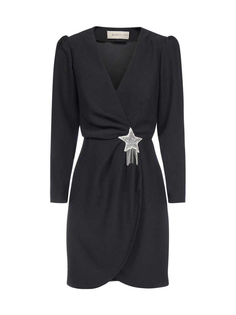 Blanca Vita Amanda Star-detail Wrap Dress - Nero