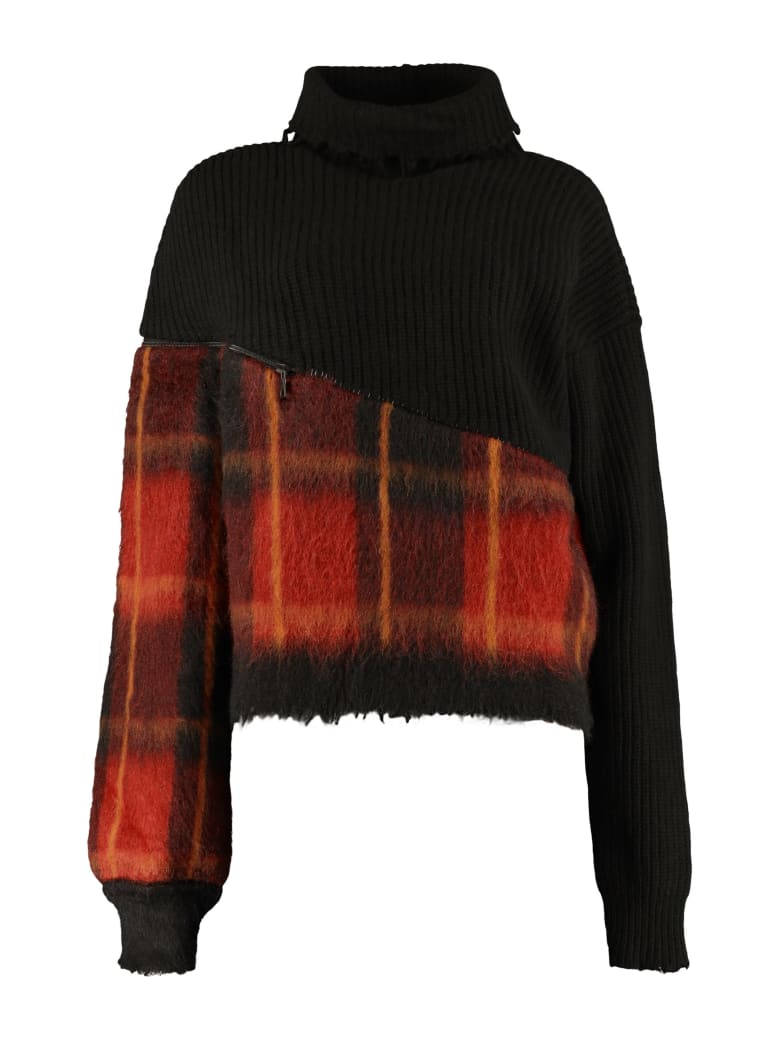 Ben Taverniti Unravel Project Oversized Turtleneck Sweater - black