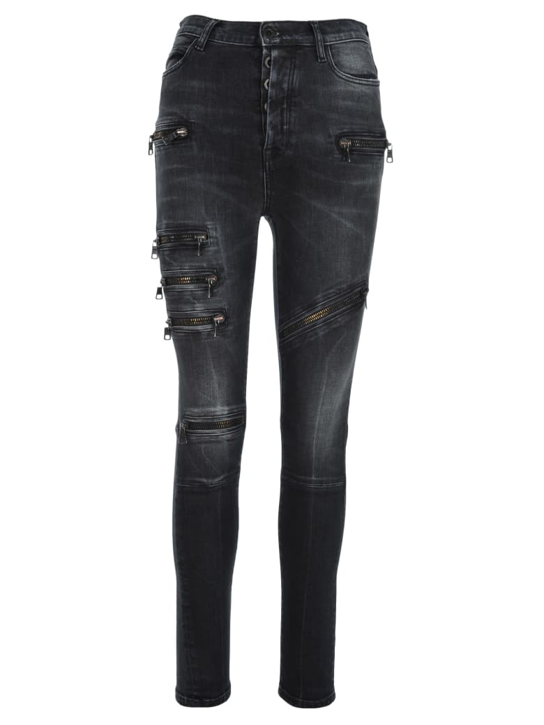 Ben Taverniti Unravel Project Unravel Multi Zip Skinny Jeans - BLACK RINS