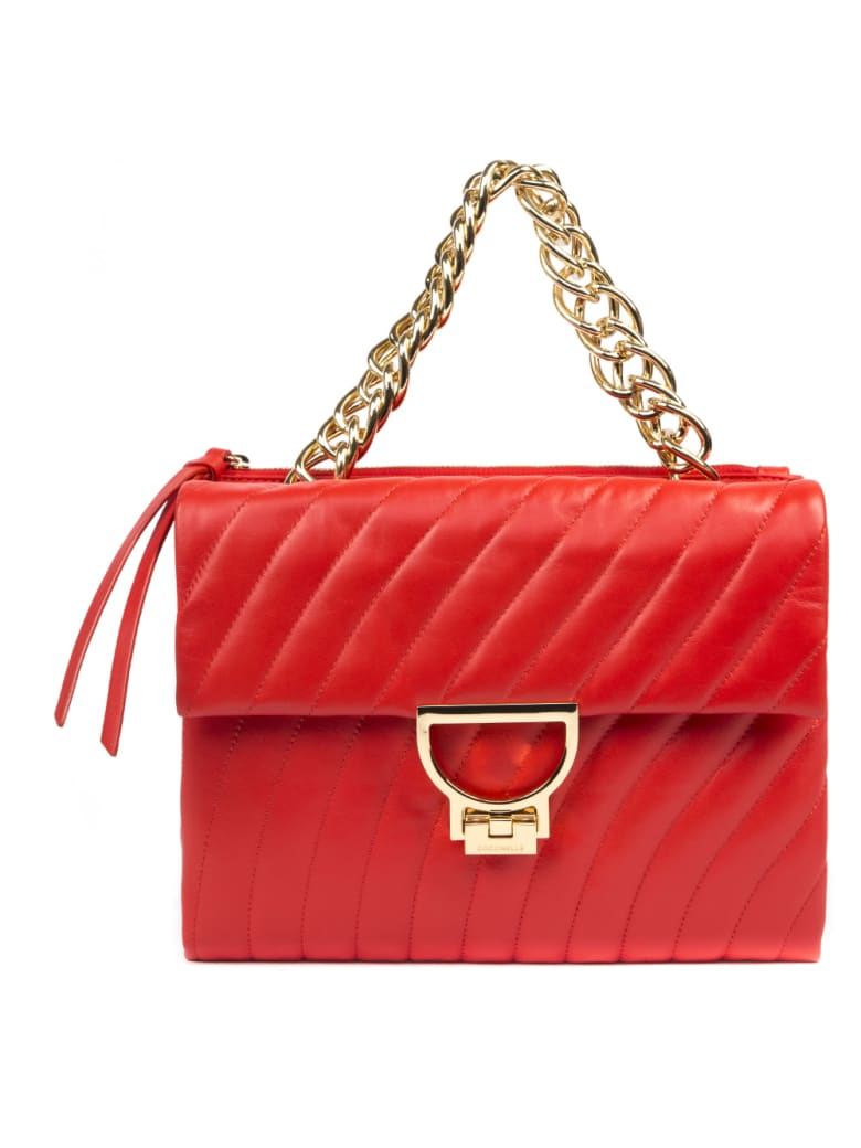 Coccinelle Red Arlettis Quilted Leather Shoulder Bag - Polish red