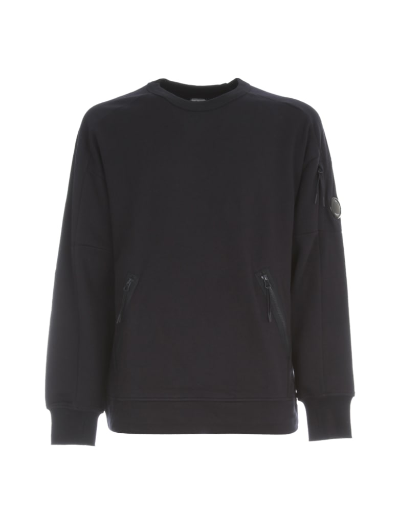 C.P. Company Oversized Sweatshirt Crew Neck W/ Logo On Sleeve - Total Eclipse