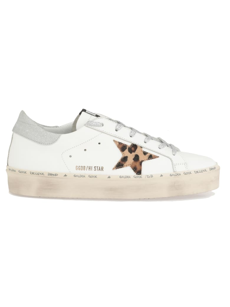 Golden Goose Hi Star Sneaker - WHITE-LEOPARD-LUREX LACE