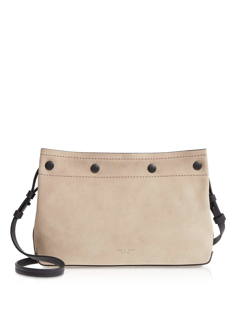 Rag & Bone Warm Grey Suede Compass Snap Crossbody Bag - Gray