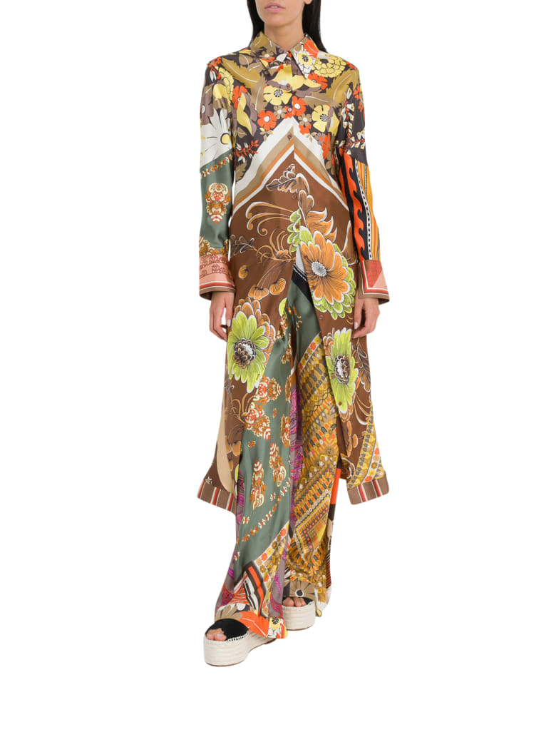 Chloé Tunic Shirt In Silk With A Caravan Print - Multicolor