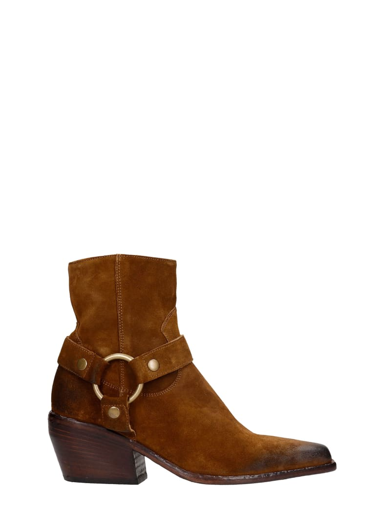 Elena Iachi Texan Ankle Boots In Leather Color Suede - leather color