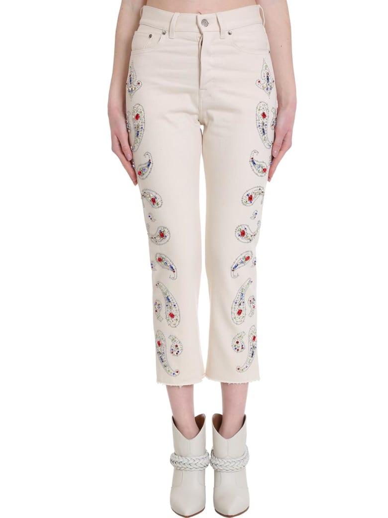 Golden Goose Texas Jeans In Beige Denim - Natural/paisley