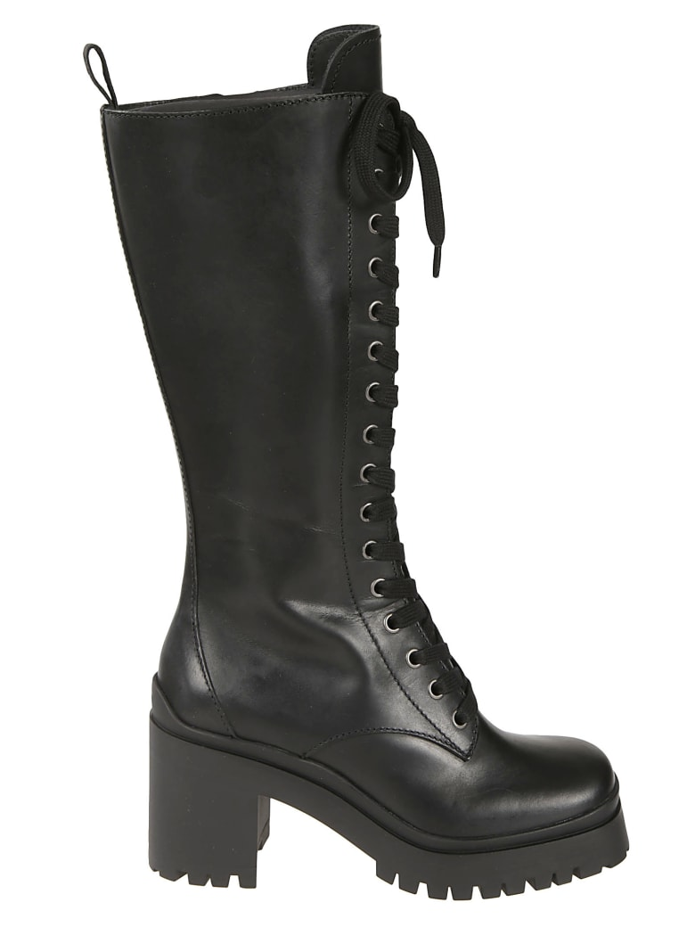 Miu Miu Chunky Sole Lace-up Boots - Black