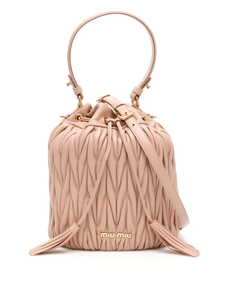 Miu Miu Matelasse' Nappa Bucket Bag - CAMMEO (Pink)
