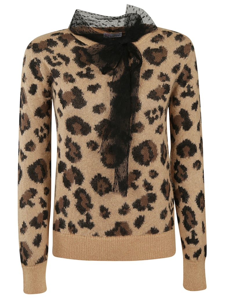 RED Valentino Animal Print Sweater - CAMEL