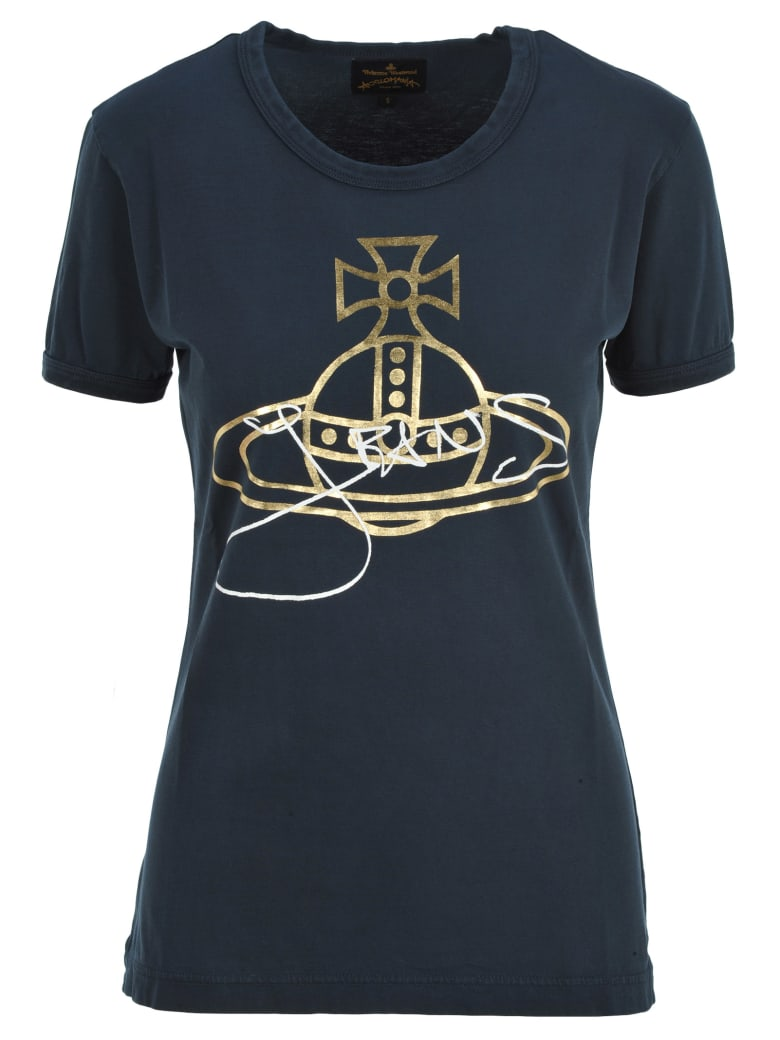 Vivienne Westwood Anglomania Anglomania Logo And Signature Print T-shirt - NAVY