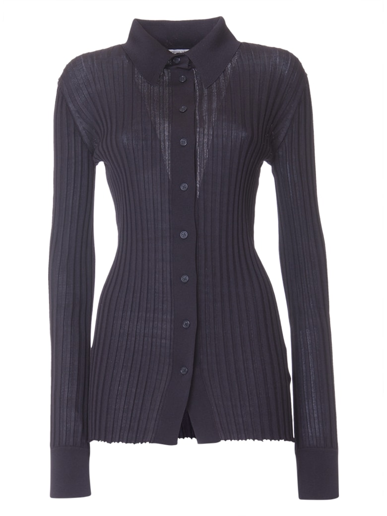 Bottega Veneta Ribbed Shirt In Black - NERO
