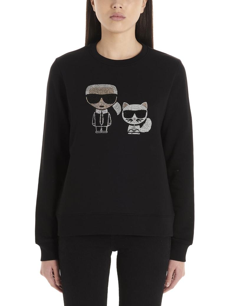 Karl Lagerfeld 'ikonic Karl & Choupette' Sweatshirt - Black