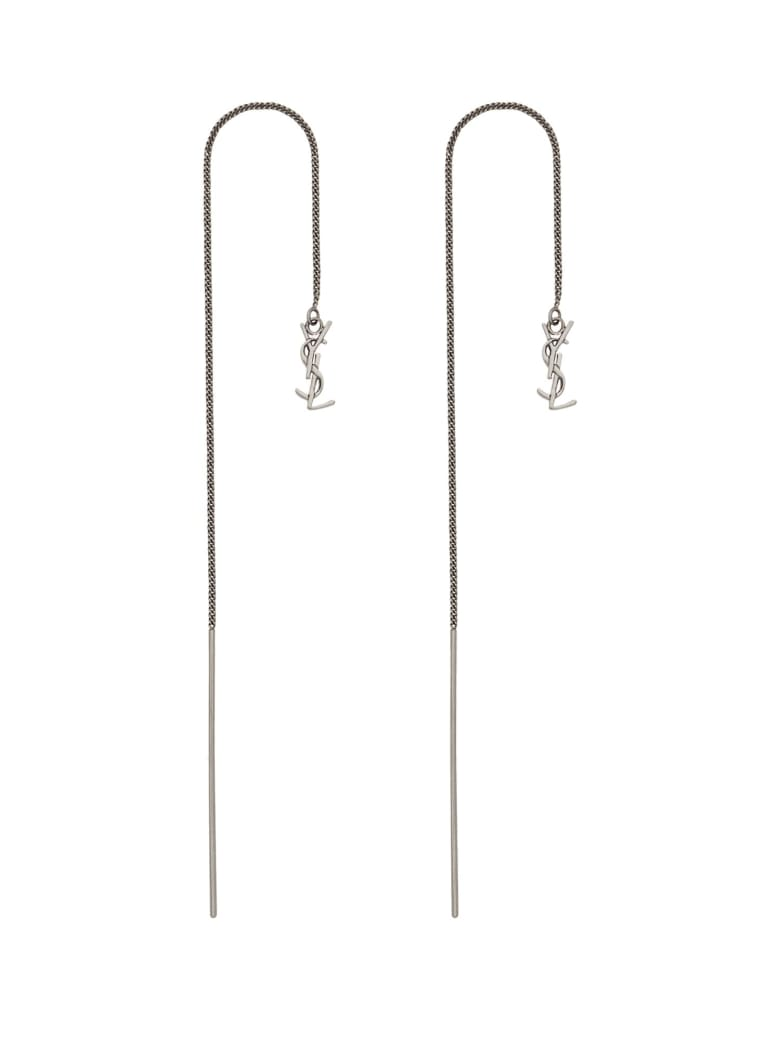 Saint Laurent Opyum Long Pendant Earrings - ARGENTO