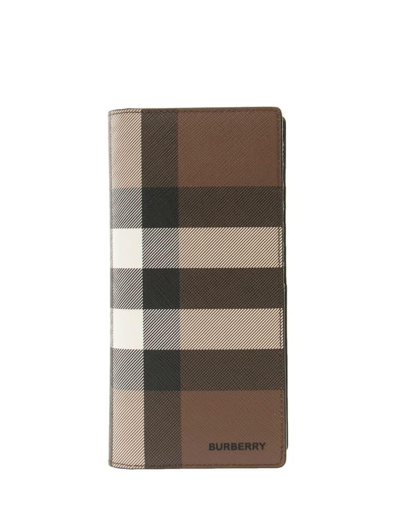 Burberry Cavendish - Check E-canvas Continental Wallet - Dark Birch Brown