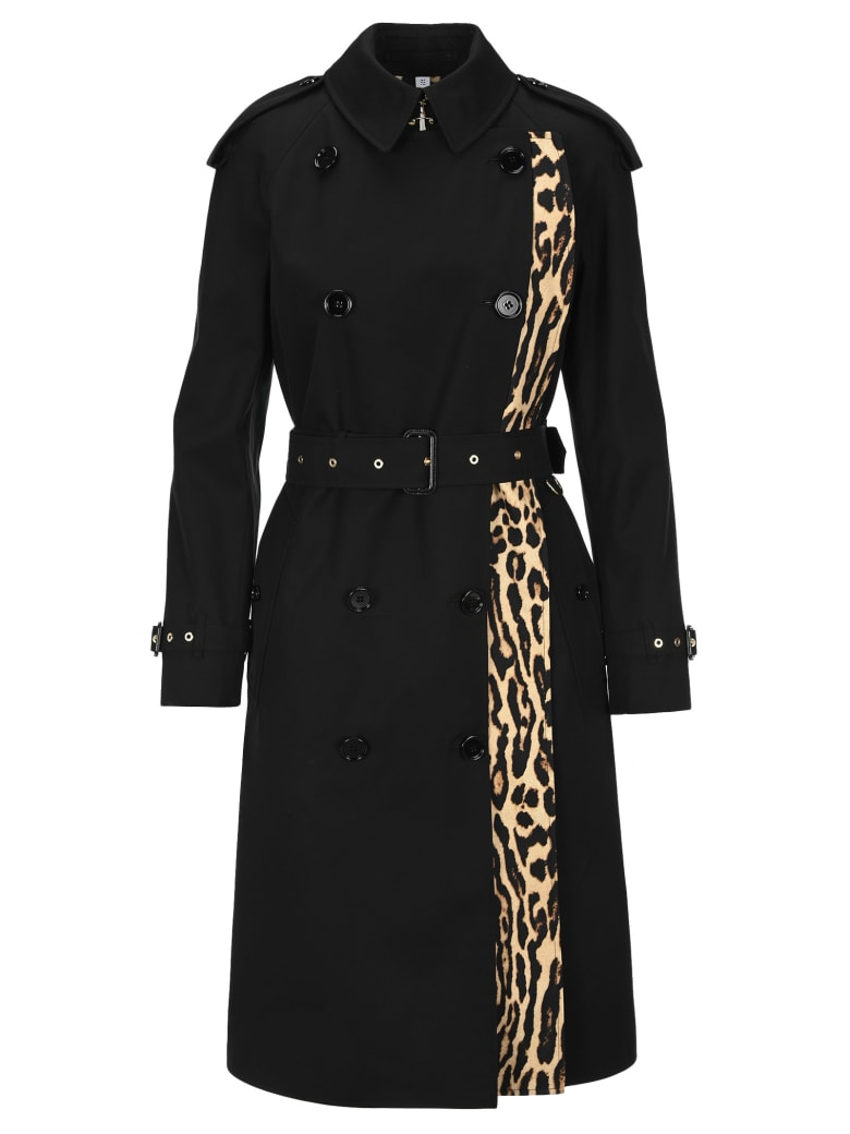 Burberry London Llopard-print Lined Trench Coat - BLACK + LEOPARD PRINT