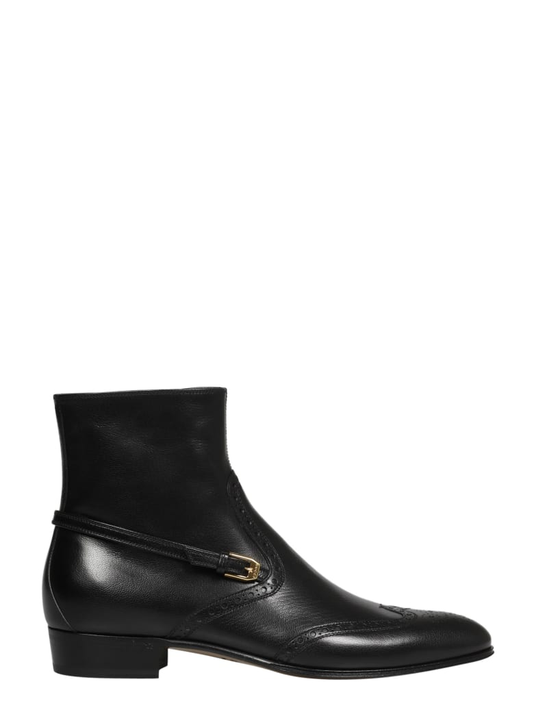 Gucci Bootie Leather Ls Quentin - Black